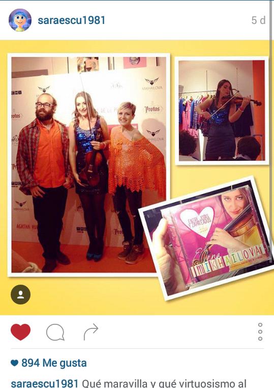 Instagram de SARA ESCUDERO. Gracias, Sara, por asistir y tus palabras. Un honor que llegue a 800likes