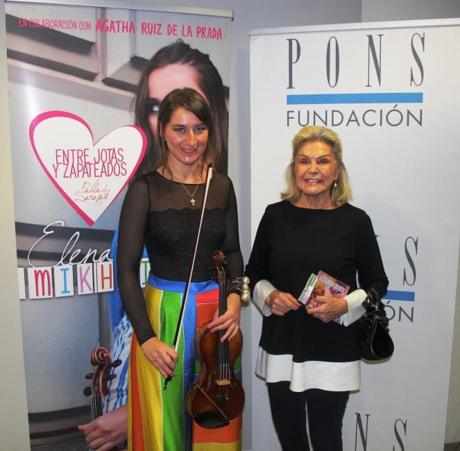 Elena Mikhailova con Beatriz de Orleans en su concierto en FUNDACION PONS